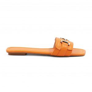 Nizki oranžni natikači s srebrnim detajlom - Spletni Nakup Renini Shop