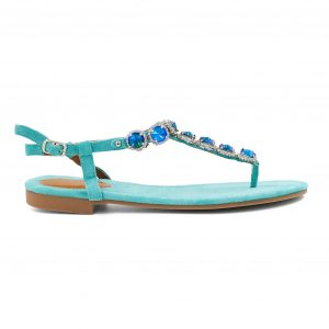 Turkizni sandali s kamenčki
