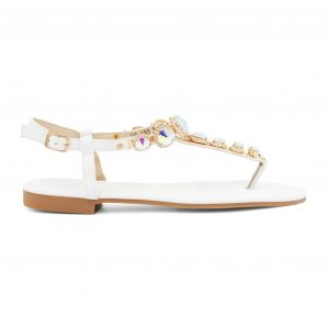 Beli sandali s kamenčki