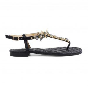 Črni sandali s kamenčki