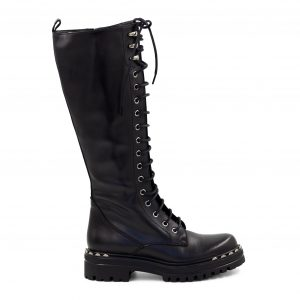 Usnjeni črni škornji Renini