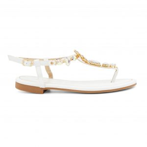 Beli sandali z barvitimi kamenčki