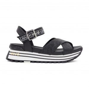 Liu Jo črni logo sandali