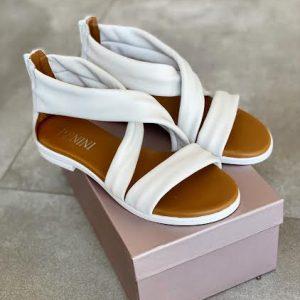 Renini usnjeni beli sandali