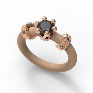 Modni Ženski Prstan - Le Corone Mini- Črn, rose zlato