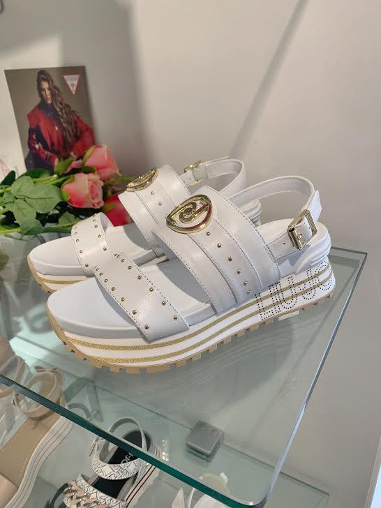 Liu Jo beli sandali zzlatimi pikicami
