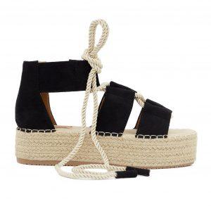 Črni sandali na zavezovanje