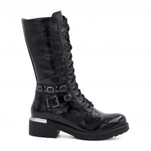 Nerogiardini črni usnjeni lakasti škornji