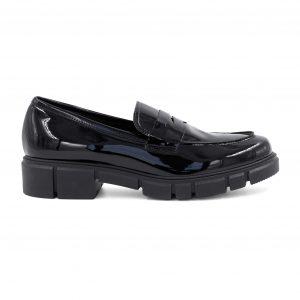 Oroscuro usnjeni črni lakasti čevlji