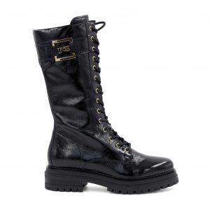 Nerogiardini črni usnjeni lakasti škornji z zlatimi detajli