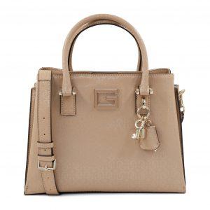 Guess ženska bež torbica z lakastimi znaki